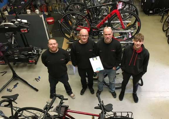 The team at Haverhill-based Aerocycles, named the fourth best cycle shop in the East of England in the Cycling Weekly poll, Britian's best Bike Shop.