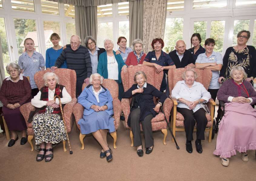 The Martins Care Home, The Vinefields, Bury St Edmunds' care home has received outstanding from the CQC. 'Manager Liz Fleming, staff and residents celebrating. 'Picture: Mark Westley.