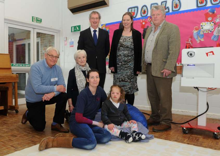 St Edmunds Trust is pleased to announce a �20,566 award to the Friends of Riverwalk School, allowing them to purchase two mobile sensory 'magic carpets'. ''''Pictured: Alan Bedford (Chair of St Edmunds Trust), Julia Rackowe (Trustee at St Edmunds Trust), Jonathan Houseago (IT Manager at Riverwalk), Jan Hatchell (Head at Riverwalk), Chris Hodgson (Chair at Friends of Riverwalk School), staff and pupils''''''PICTURE: Mecha Morton
