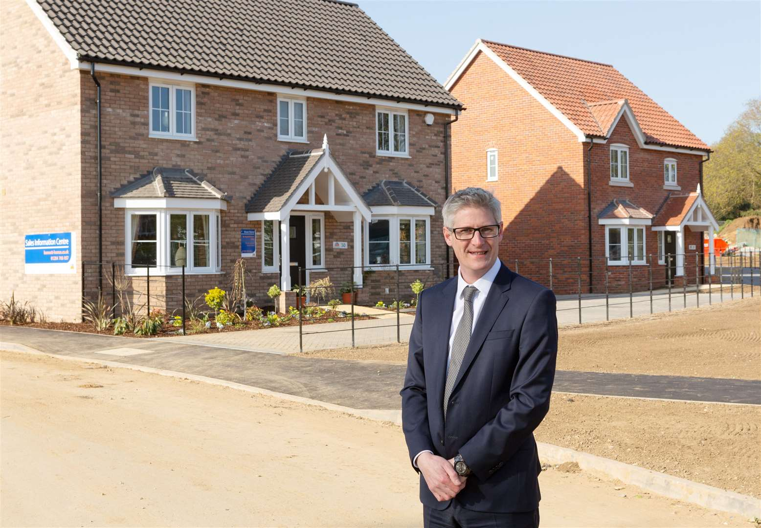 Edward Parker, managing director at Bennett Homes, at the Church Meadow development in Sproughton. Picture: Keith Mindham