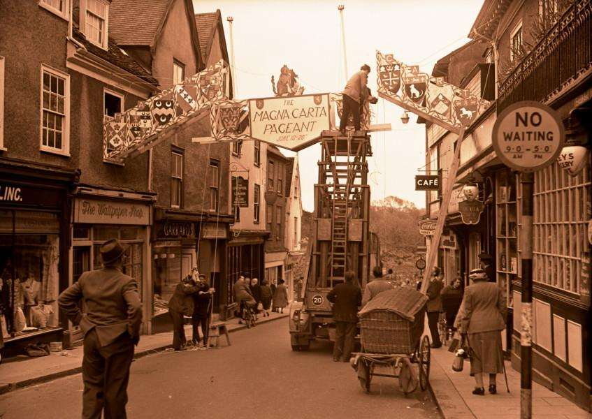 Magna Carta Pageant banner over Abbeygate Street - 1959. From the Spanton Jarman collection ANL-160402-120244001