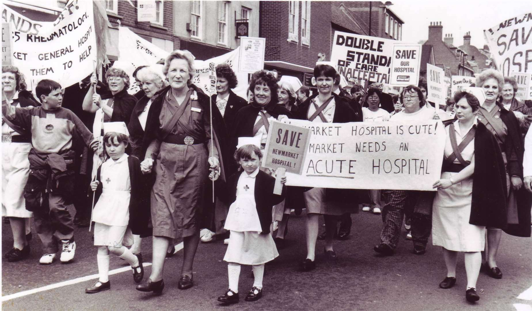 Newmarket nurses and hospital staff make their feelings clear during the protest march in May 1991