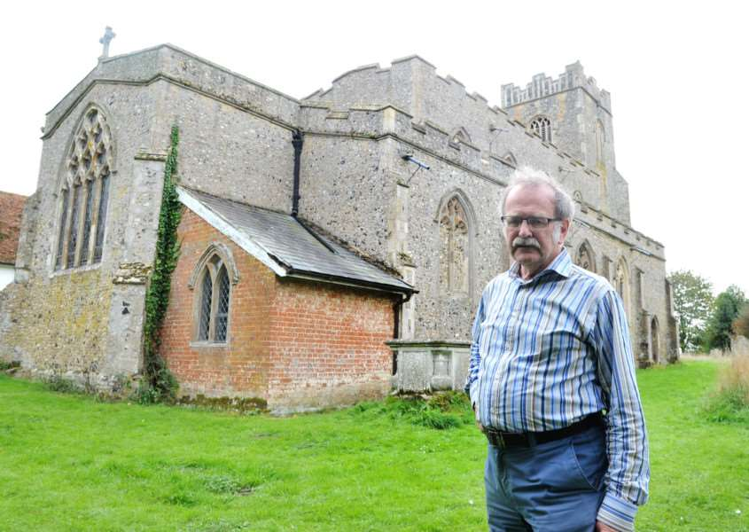 St Bartholomew Church in Groton is one of the Suffolk churches where lead has been stolen in the past few weeks. ''Pictured: David Lamming - Church Secretary ANL-150610-154106009