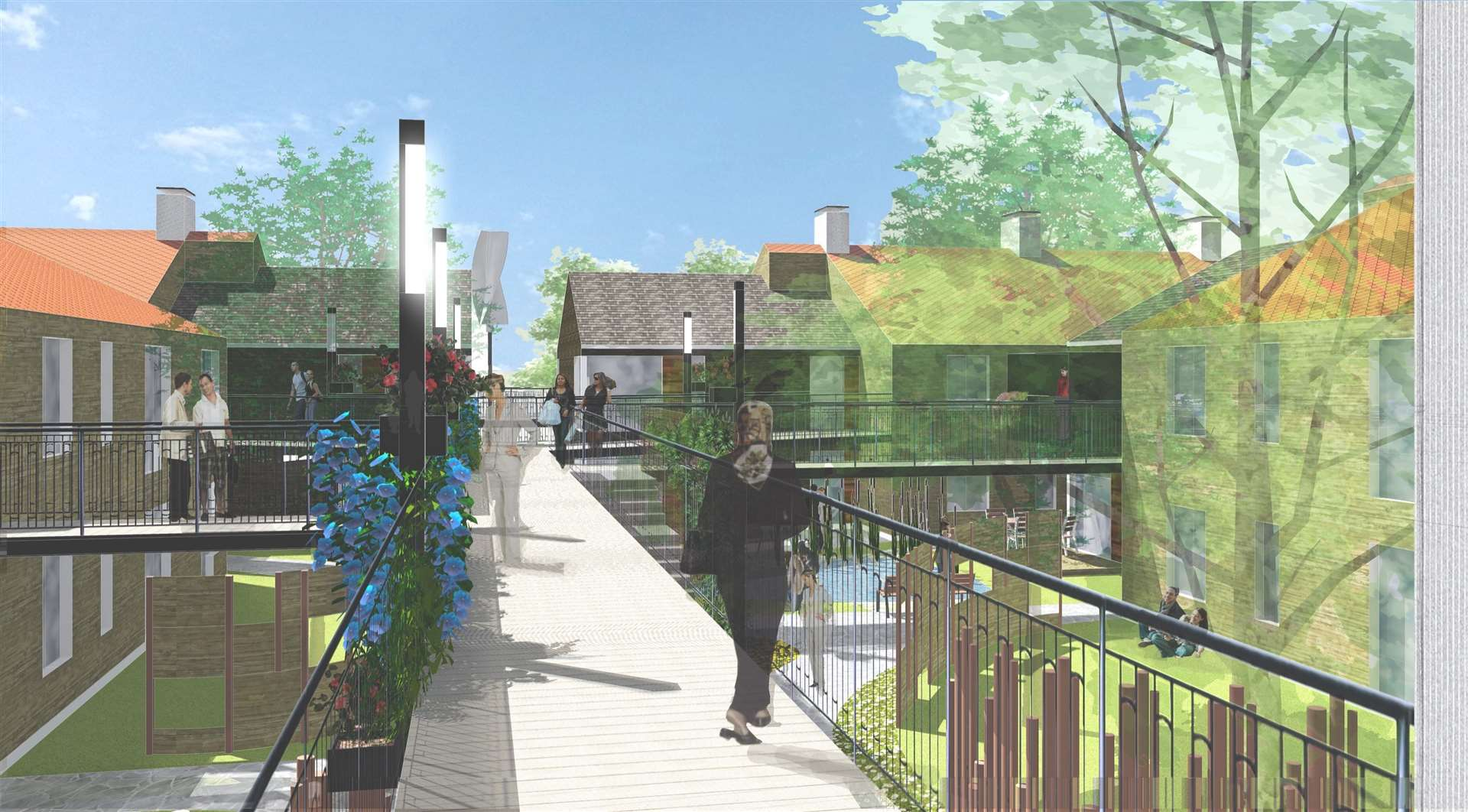 A graphic of how the dementia care village at Little Court near Haverhill would look. Image by Jordan+Bateman architects