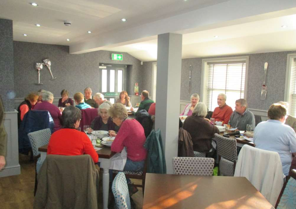 Guest at the Meet and Eat event enjoy their meal at the Greyhound in Wickhambrook ANL-150113-143540005