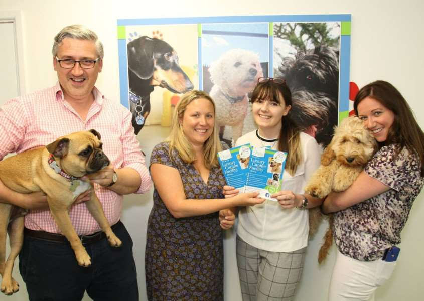 Staff at Burnett Barker with some of the dogs enjoying fun at Bury St Edmunds Canine Creche.'Pictured are from left, Daryl Griffiths, Miranda Mortlock, Katy Raven and Aisleen Bird