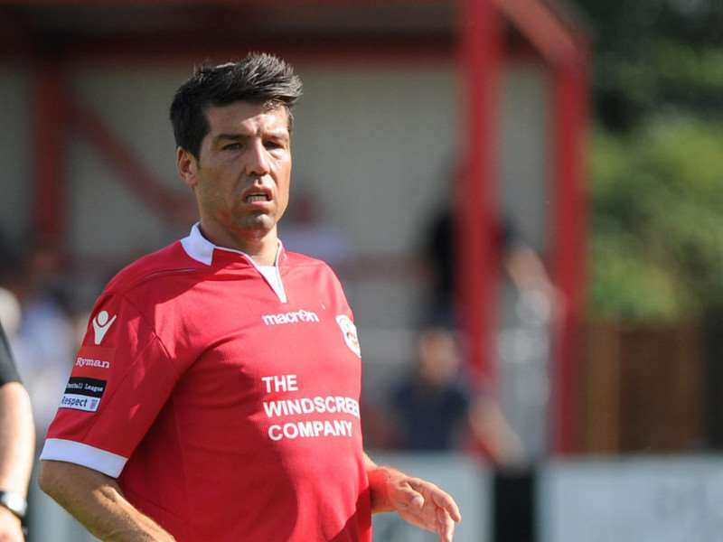 NEW JOB: Kem Izzet pictured playing for Needham Market this season, has been announced as the new Stanway Rovers manager