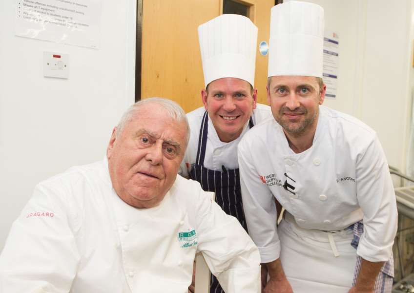 From the left, Albert Roux with West Suffolk College lecturers Josh Raven and Stuart Ascott ANL-151021-141819001