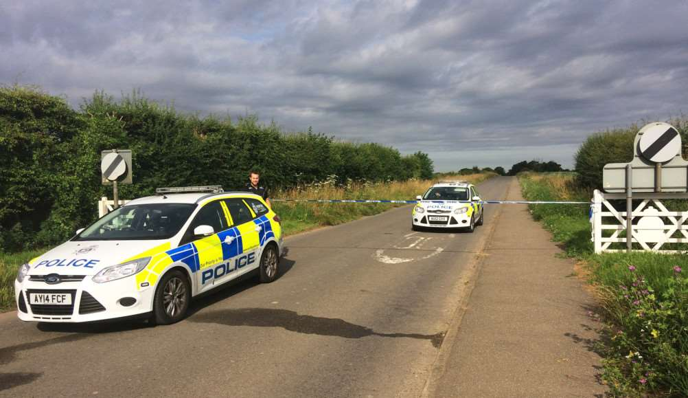 Police seal off a section of Ladywood Road close to RAF Marham in Norfolk, after a serviceman was threatened with a knife near to the base. PRESS ASSOCIATION Photo. Picture date: Thursday July 21, 2016. Officers were on patrol around RAF Marham on Wednesday evening after he was threatened with the blade. See PA story POLICE Serviceman. Photo credit should read: Sam Russell/PA Wire EMN-160721-132401001