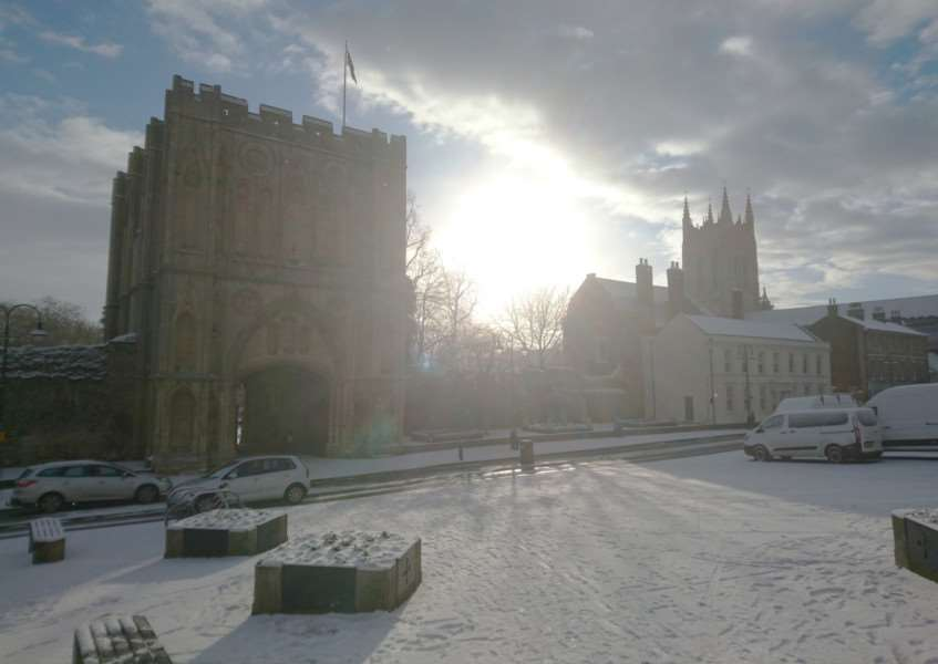 Snow on Angel Hill, Bury St Edmunds'Picture: Tom Kingsnorth