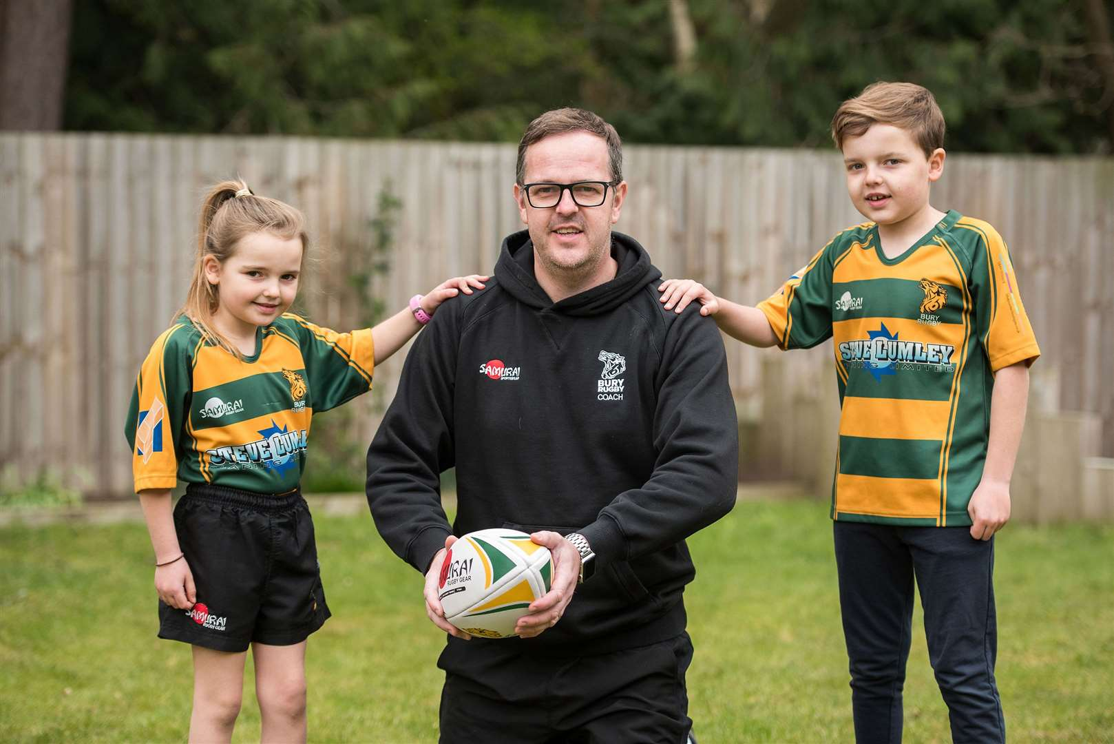Craig Germeney, pictured launched the club's virtual pass during the first national lockdown with his children, is set to become the next club chairman at Bury St Edmunds RUFC Picture: Mark Westley