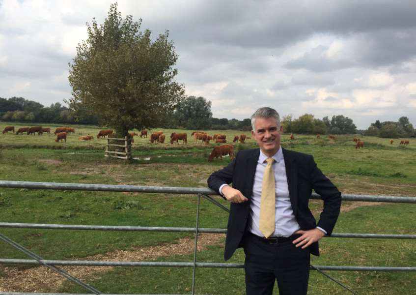 South Suffolk MP James Cartlidge at the Water Meadows in Sudbury. Mr Cartlidge is campaigning to deliver a bypass for the town.