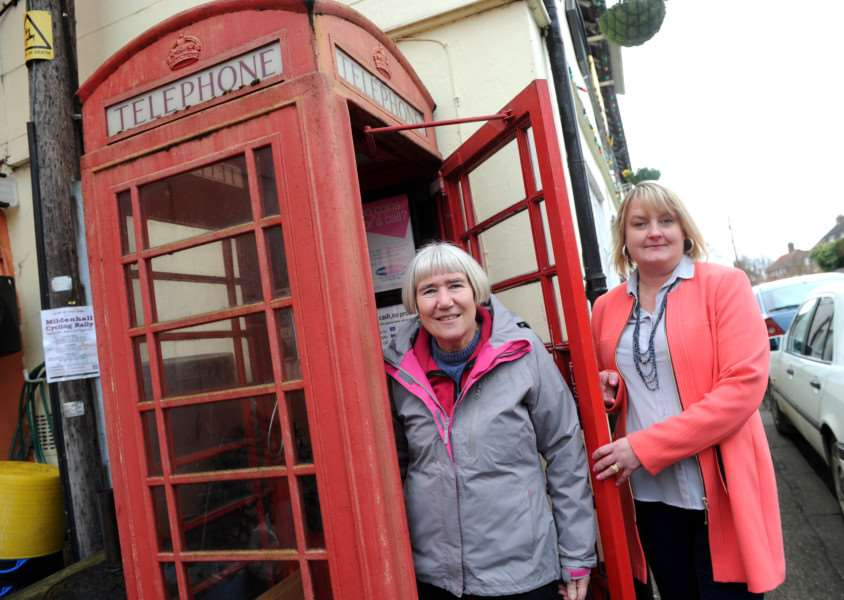 Barton Mills Parish Council are raise money for a defibrillator in the Phone box''Pictured: Pamela Boura (Chairman) and Abigail Davies (Clerk) ANL-160803-084247009