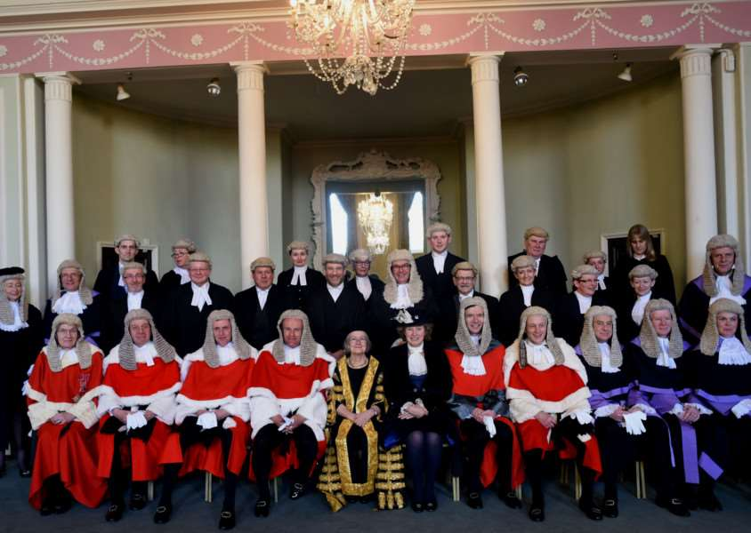 Civic dignitaries, High Court and Circuit Judges , representitives from the legal and guests pack the St Edmundsbury Cathedral on Sunday for the historic annual Justice Service. ANL-160314-093703009