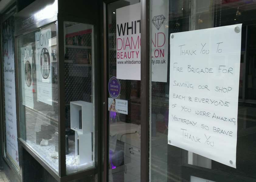 Staff at the White Diamond Beauty Salon in Friars Street wrote a message to the heroic firefighters that saved their store. ANL-150909-161737001