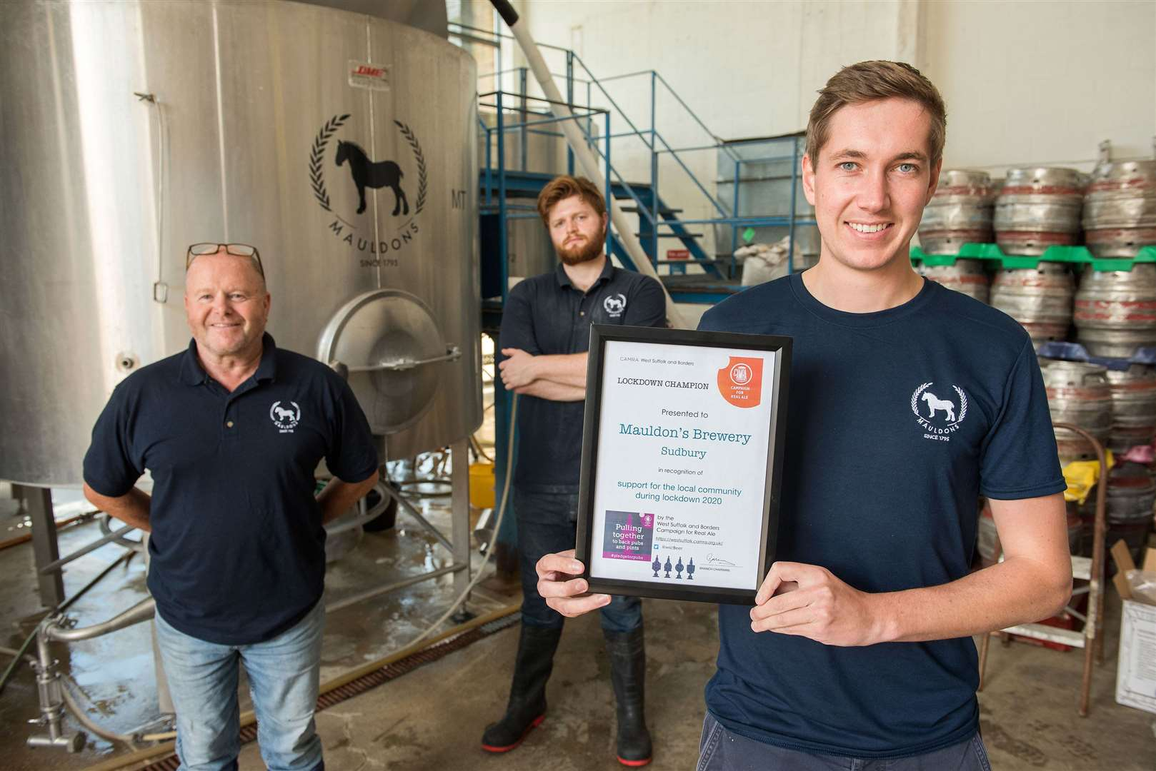 SUDBURY: Mauldons Brewery.Mauldons Brewery, 13 Church Field Road, Sudbury.Mauldons Brewery in Sudbury has received a Lockdown Champions Award from the West Suffolk and Borders Campaign for Real Ale (CAMRA), in recognition of its support for the local community during the coronavirus lockdown. Owner Charlie Buckle with Head Brewer Steve Birch and assistant Zach Isom.Picture by Mark Westley. (39440214)