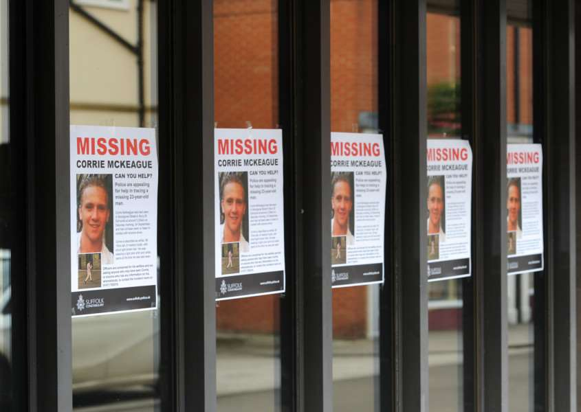 Corrie McKeague missing posters on shop windows ANL-161110-161314009