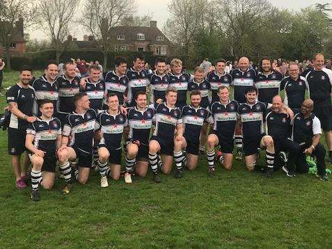 PROMOTED! Sudbury Rugby Club players and coaching staff pictured at Hampstead after the final whistle Picture: Robert Waller