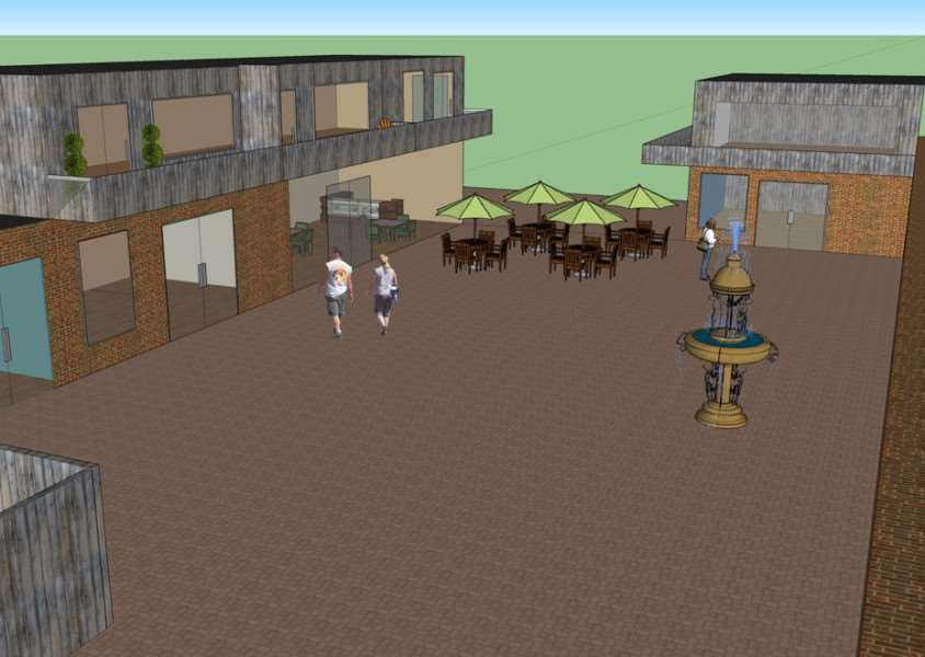 An impression of how the courtyard behind The Bell pub would look after being redeveloped ANL-161101-111953001
