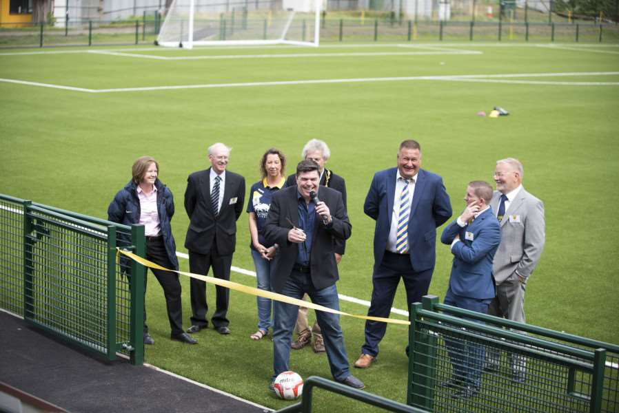 Opening of Newmarket Town's new 3G pitch by Michael Quinn.'Pictured with Mayor Andy Drummond, Manager Kevin Grainger, first team coach Kevin Parsons, Des Cook President and Chairman John Olive Graham Edwards secretary'Picture Mark Westley ANL-161207-091617009