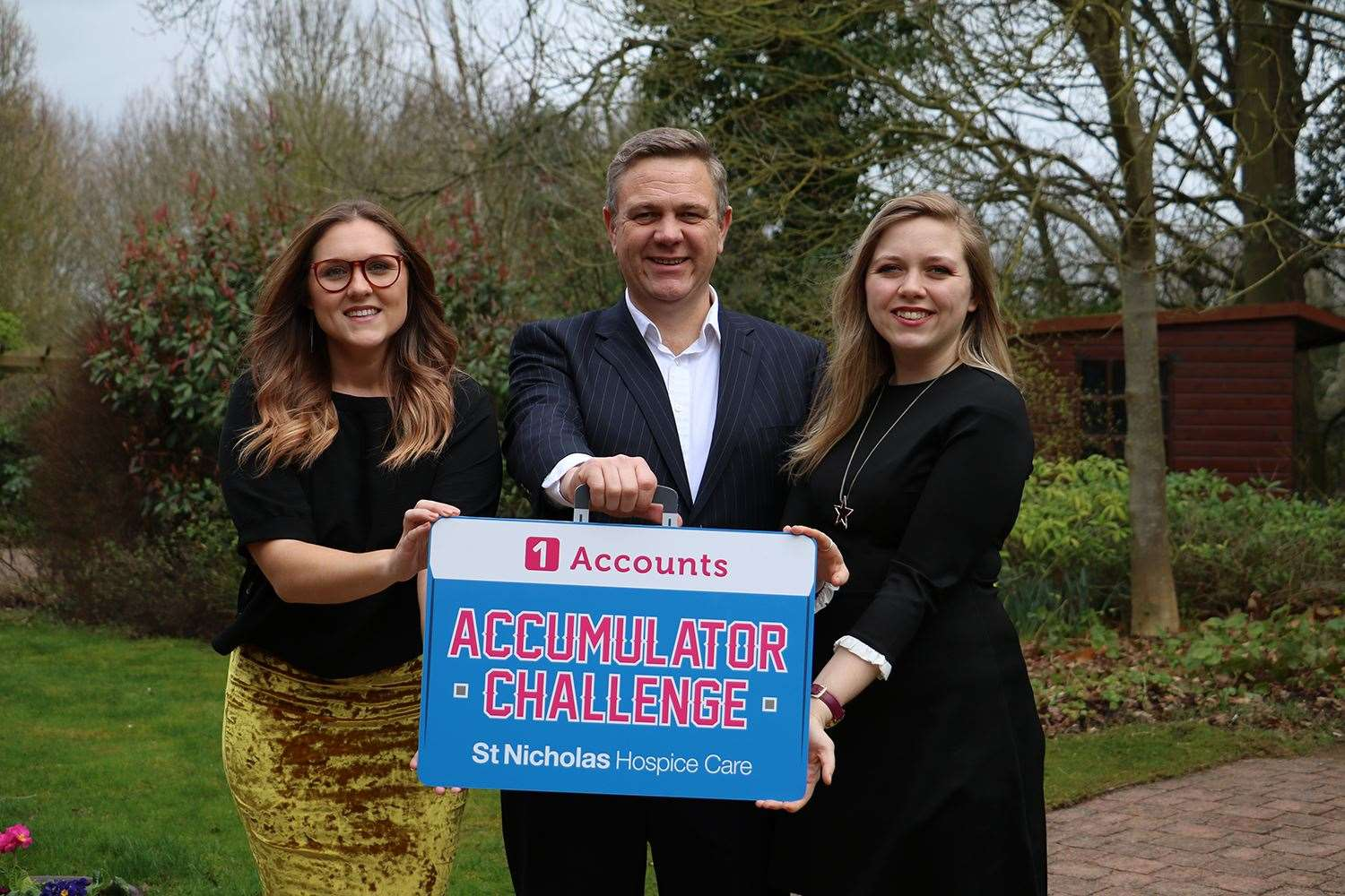 Hospice corporate fundraiser, Rachel Card (left) and 1 Accounts Onlinedirector, Paul Donno and practice manager, Jade Donno, set the Accumulator Challenge.Contributed picture (9479056)