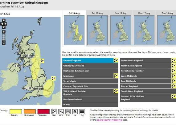 Met Office Yellow Warning for rain in the East