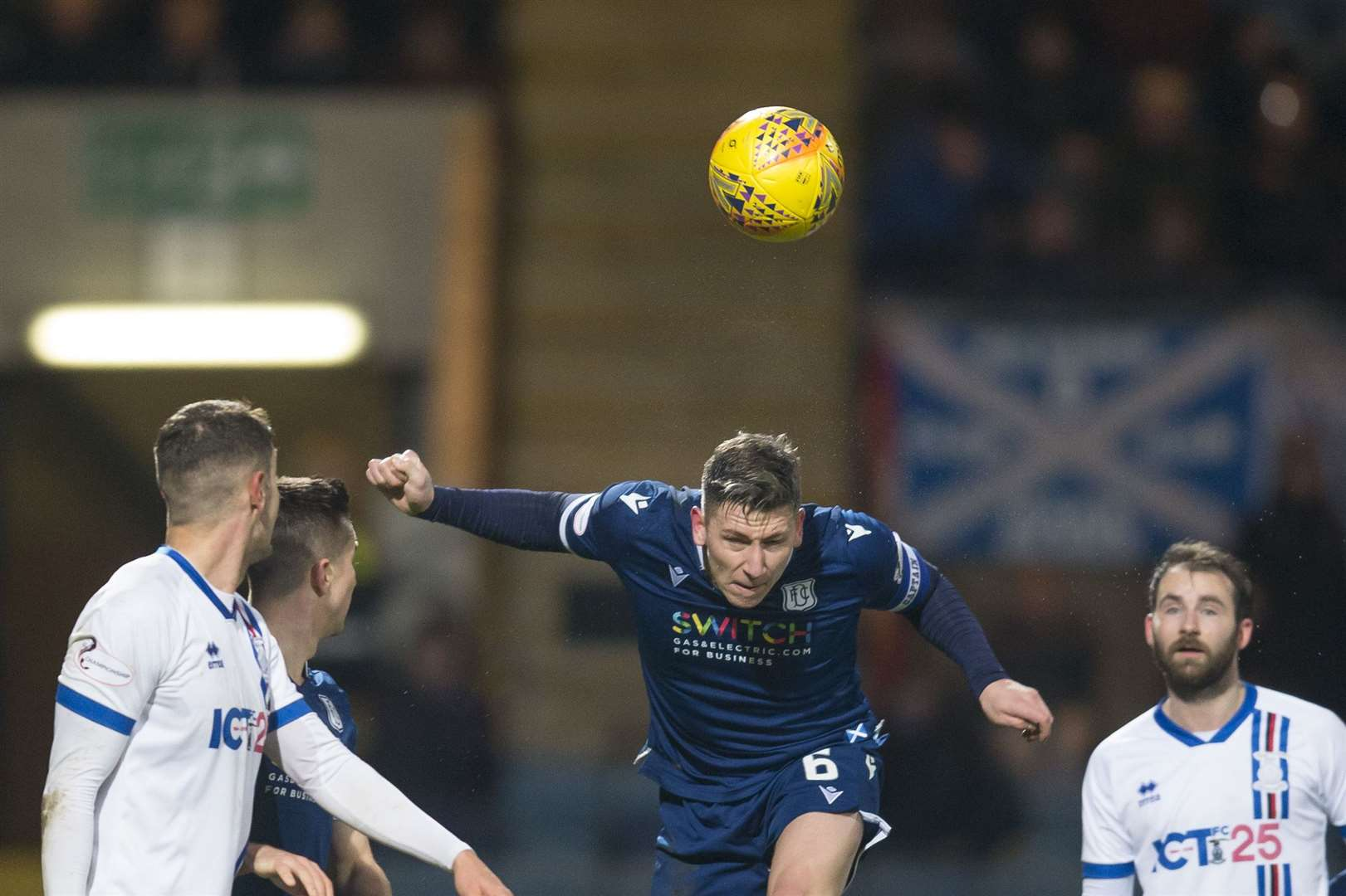 4th January 2020; Dens Park, Dundee, Scotland; Scottish Championship Football, Dundee FC versus Inverness Caledonian Thistle; Josh Meekings of Dundee heads clear from Kevin McHattie and James Keatings of Inverness Caledonian ThistlePicture: David Young Photography (36052409)