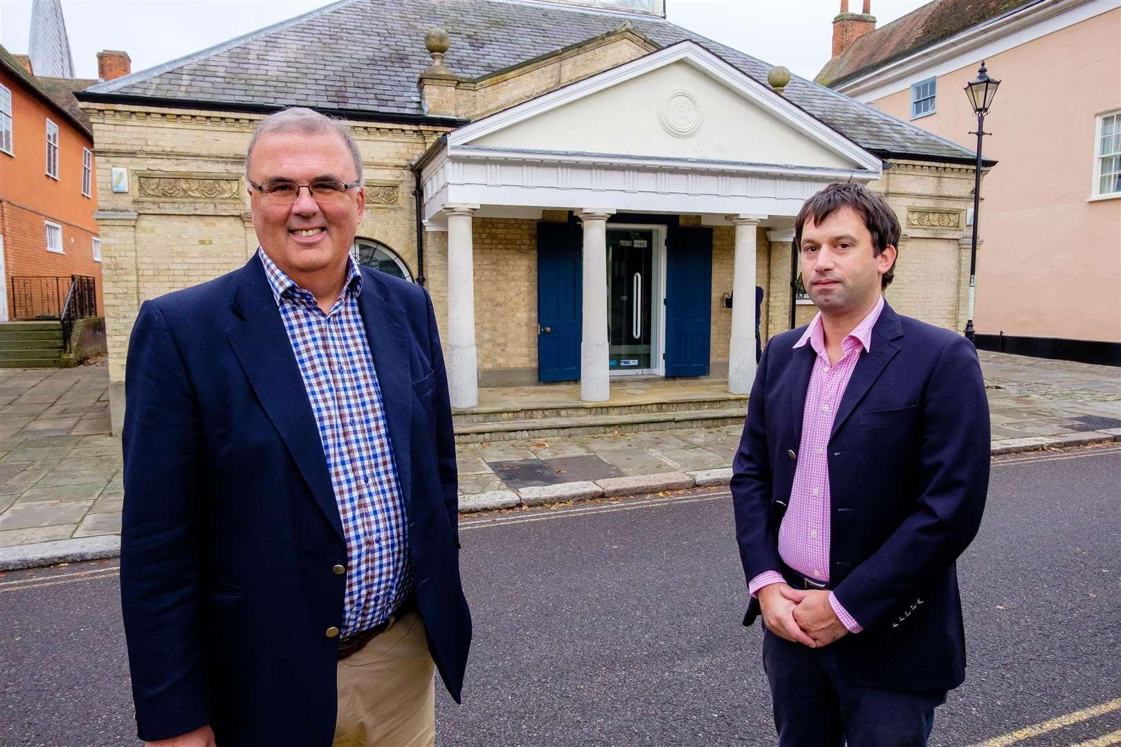 Robert Chapman and Benedict Stickels have bought Hadleigh Corn Exchange and turned it into a new estate agency business called Chapman Stickels. Pictured are Robert Chapman and Benedict Stickels...Mark Bullimore Photography 2019. (19905783)