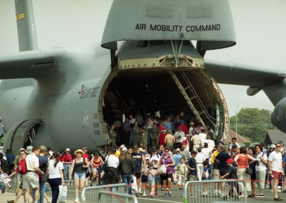 Crowds walk through a giant Galaxy transport aircraft at the last Mildenhall Air Fete in May 2001 ANL-150318-173257001
