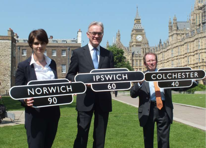 Chloe Smith MP, Mark Pendlington and David Burch show the GEML Taskforce's expectations on train times from London.