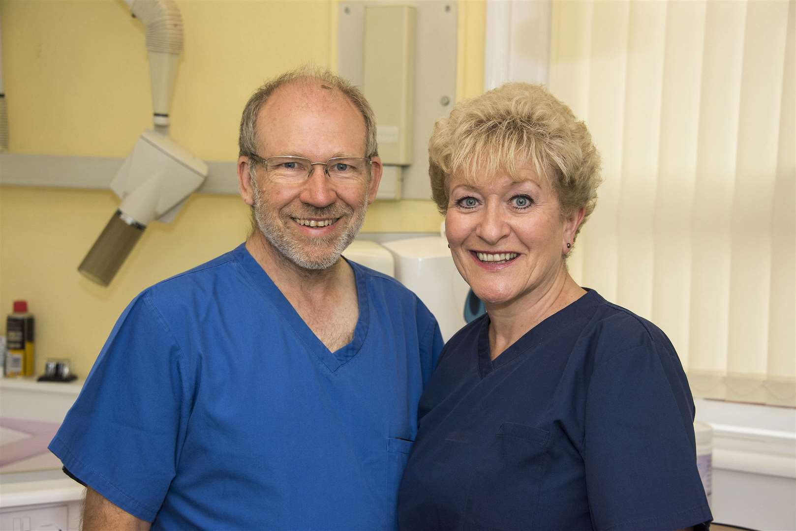 Dr Robert Bradbury, the principal dentist at Bank Buildings Dental Surgery in Sudbury, and nurse Elaine Covey, are both set to retire on June 29, having worked together at the practice for more than 30 years. Picture by Mark Westley (2704353)