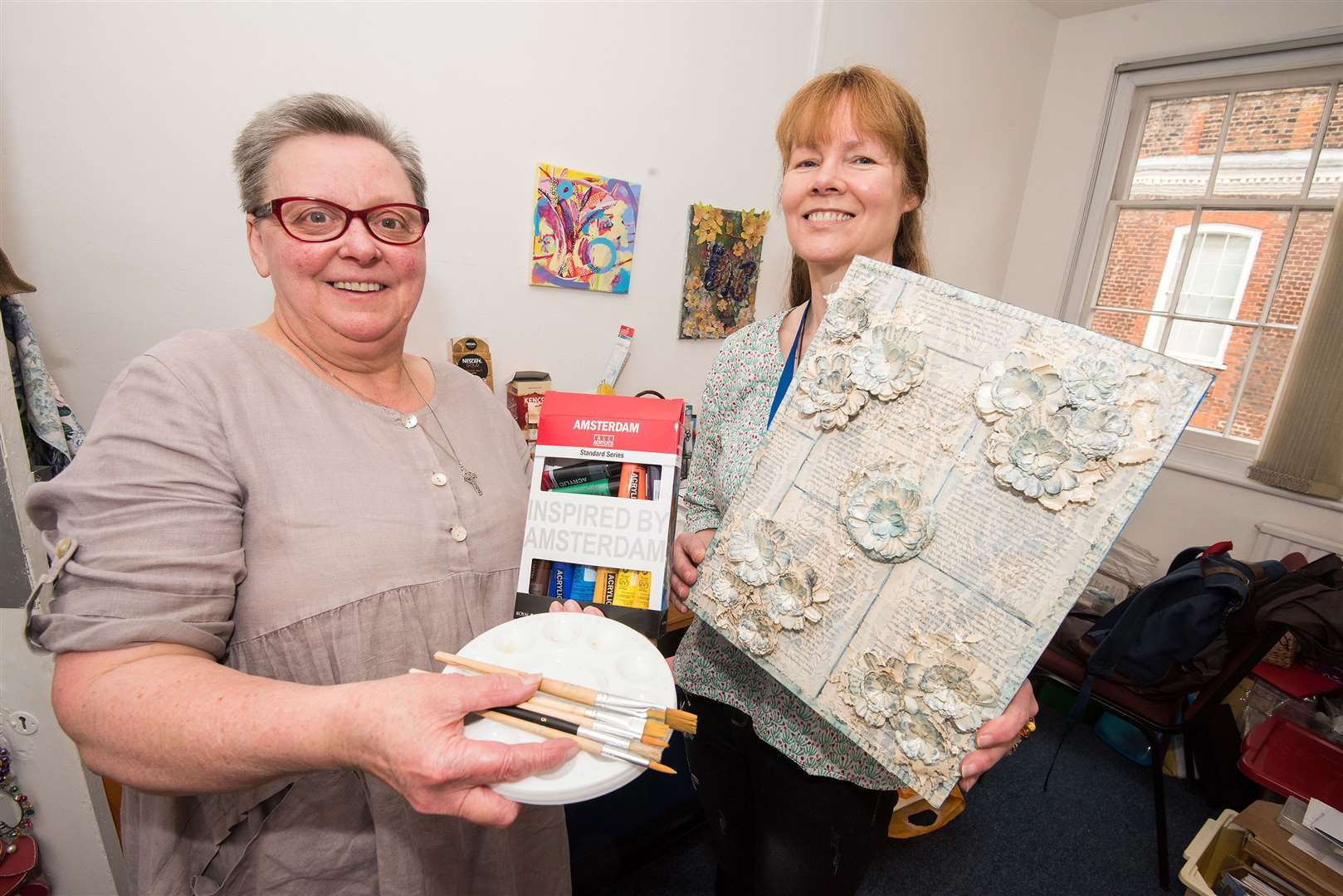 The Christopher Centre, 10 Gainsborough St, Sudbury Teresa Bishop and Karoline Wells.C'Art provides weekly art sessions for people with mental health conditions..Members take part in various creative projects, which has supported them through difficult situations..P Picture by Mark Westley. (8685561)