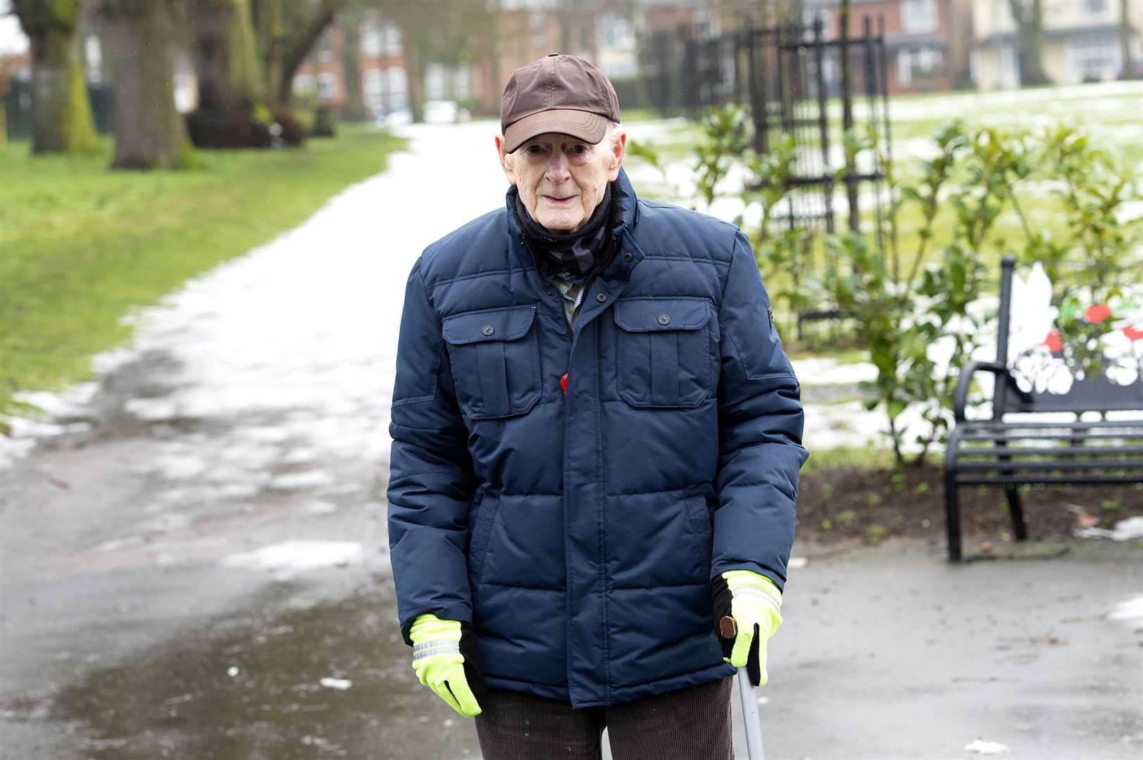 Colin Hawkins, 84, walked 63 laps of the recreation ground for charity. Picture by Mecha Morton
