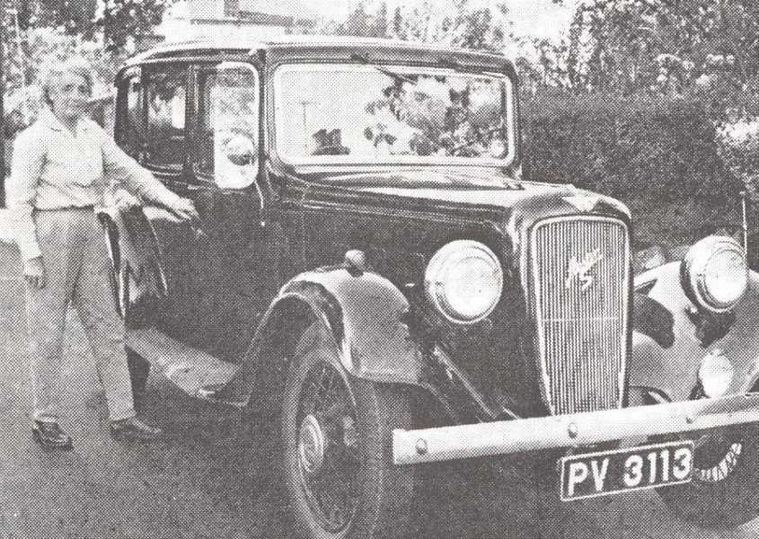 Elsie Elliston with the Austin taxi that once carried King George VI and Winston Churchill.