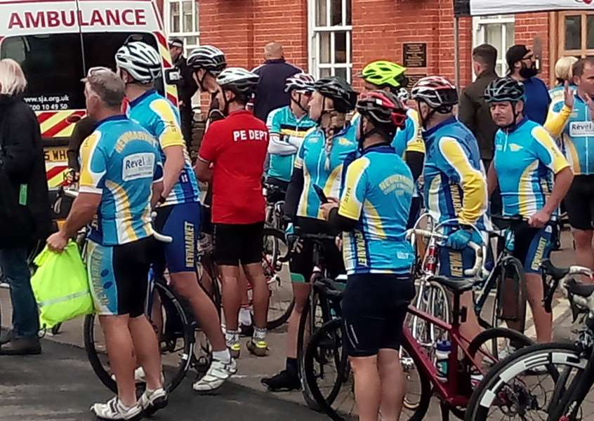 Members of Newmarket Cycling & Trialthon watch on at the start of Stage Six