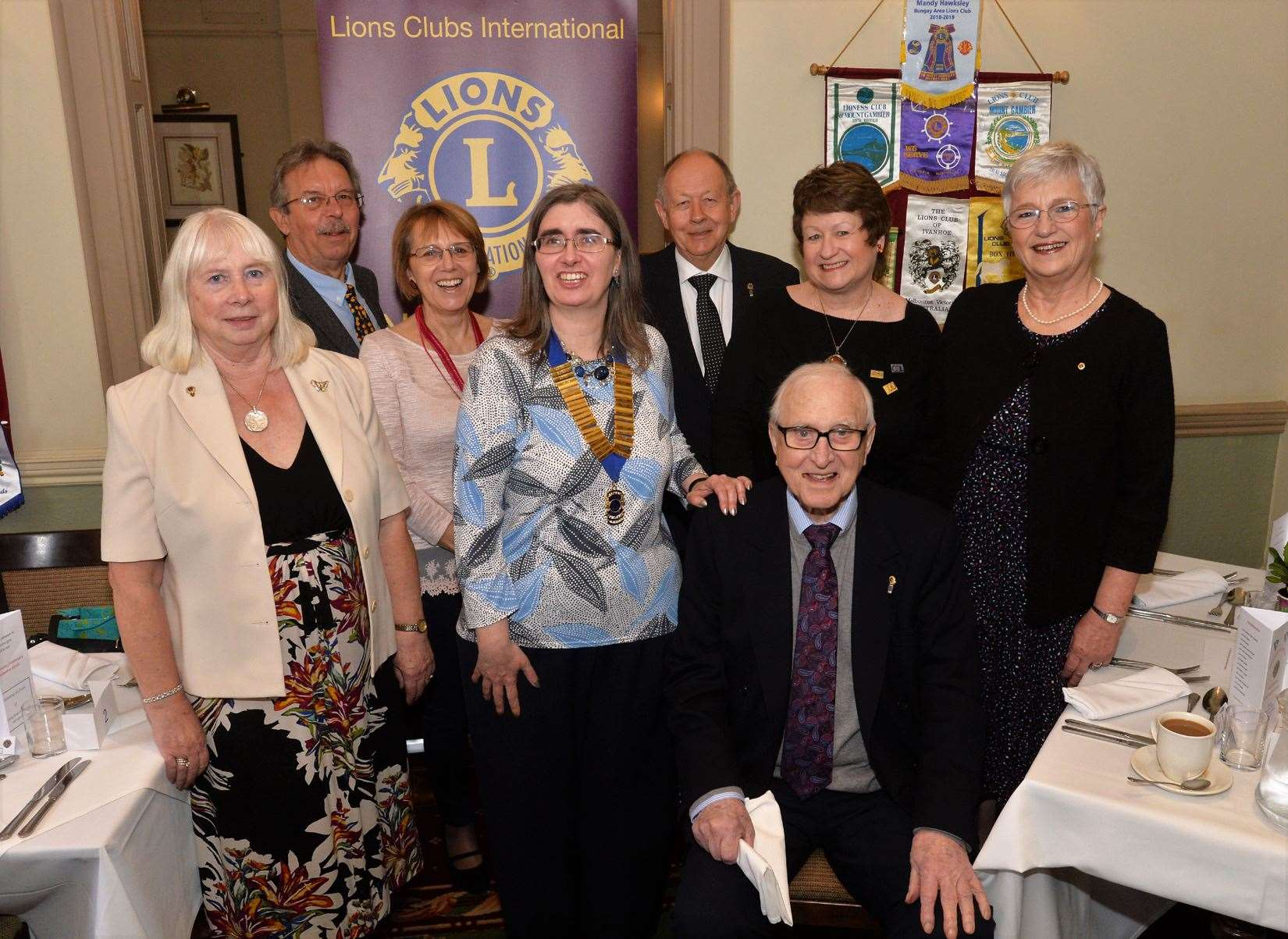 Members of Newmarket Lions Club celebrate the award of the group's charter 43 years ago