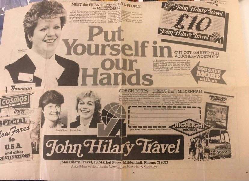A 1983 advert for John Hillary Travel, in Mildenhall, featuring Kelly Brooks (41282209)