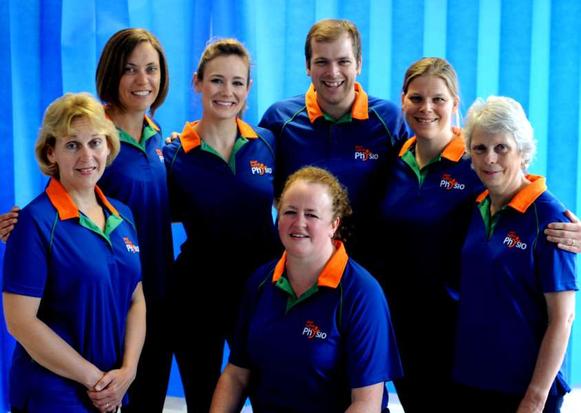 The West Suffolk Physio team - (from left to right) Trudi Dunn, Helen Stewart, Zoe Noble, Amanda Fairgrieve, Tom Lockwood, Nina Finlay and Sheila Piper ANL-160811-132634001