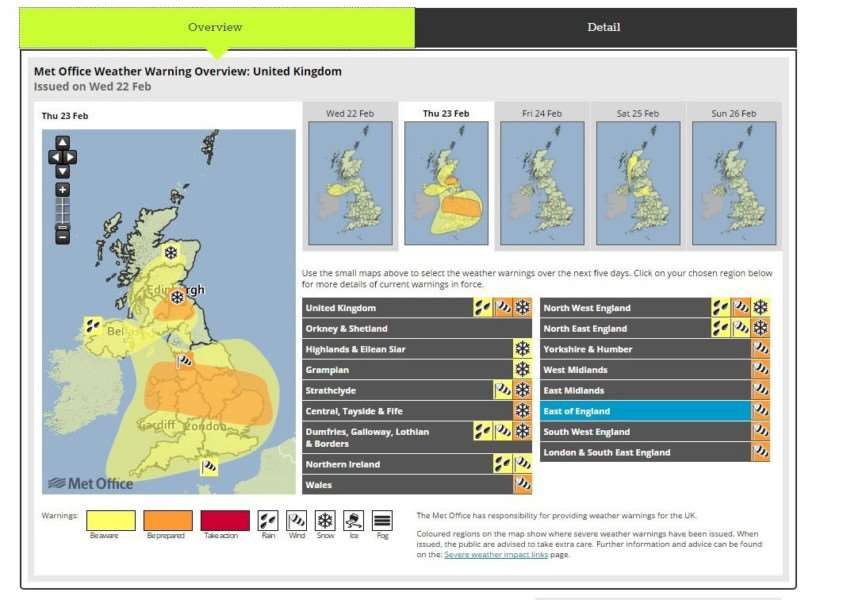 The Met Office's updated weather warning map for Thursday