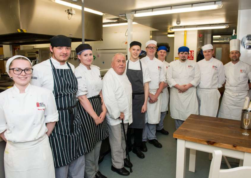 west suffolk college albert roux dinner - Albert Roux with catering students in kitchen