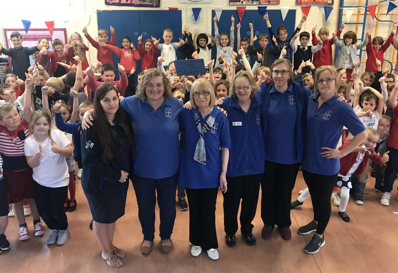 34792f449 VIDEO: Barrow Primary School celebrate dinner lady Alma Wright's 50th year  working at school