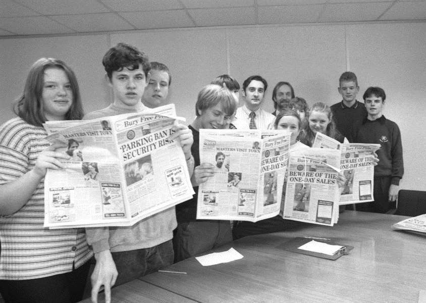 Priory School pupils visit the Bury Free Press in 1994 ANL-160909-092930001