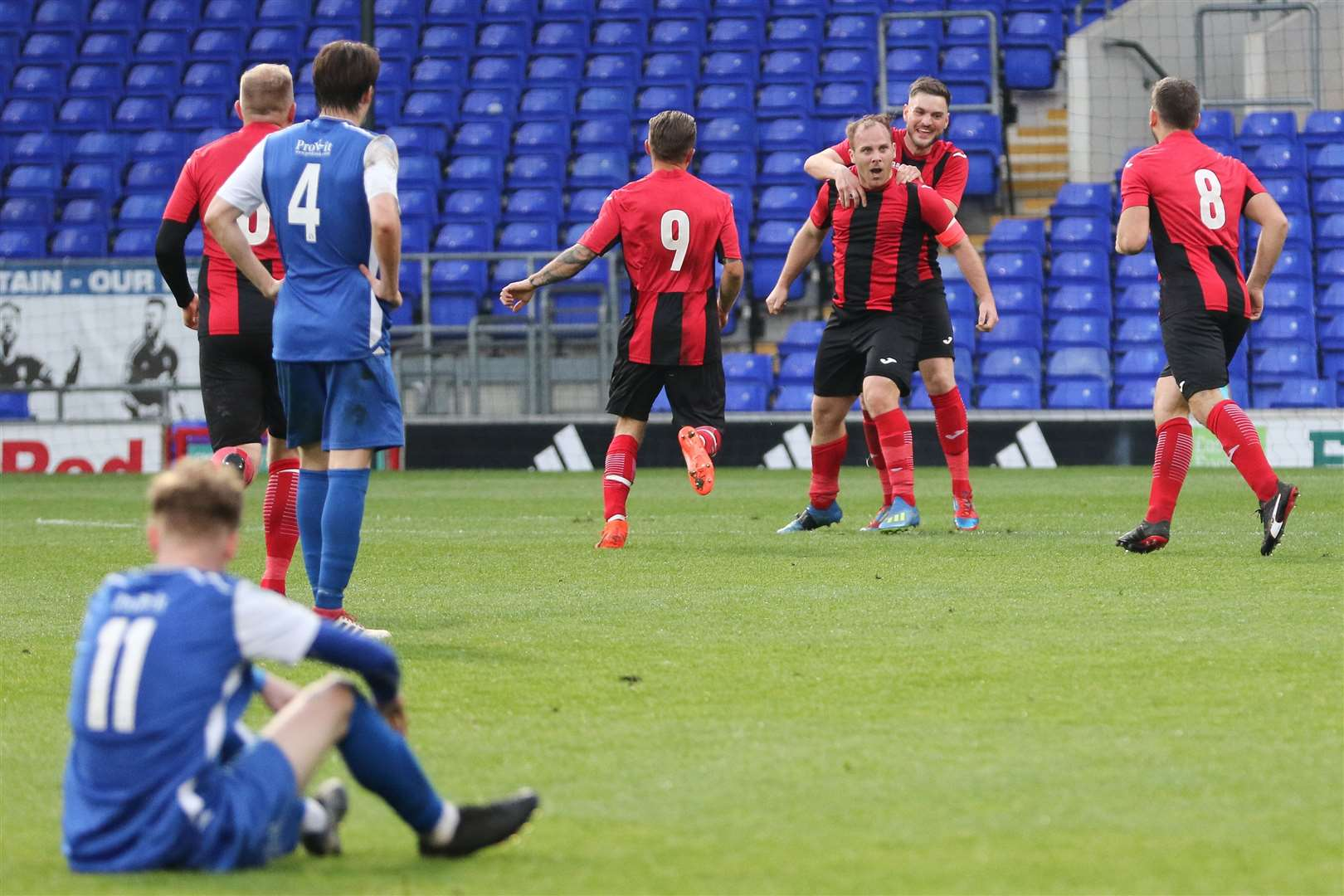 Achilles' Lee Grimwood celebrates making it 2-0 Pictures: Gary Donnison