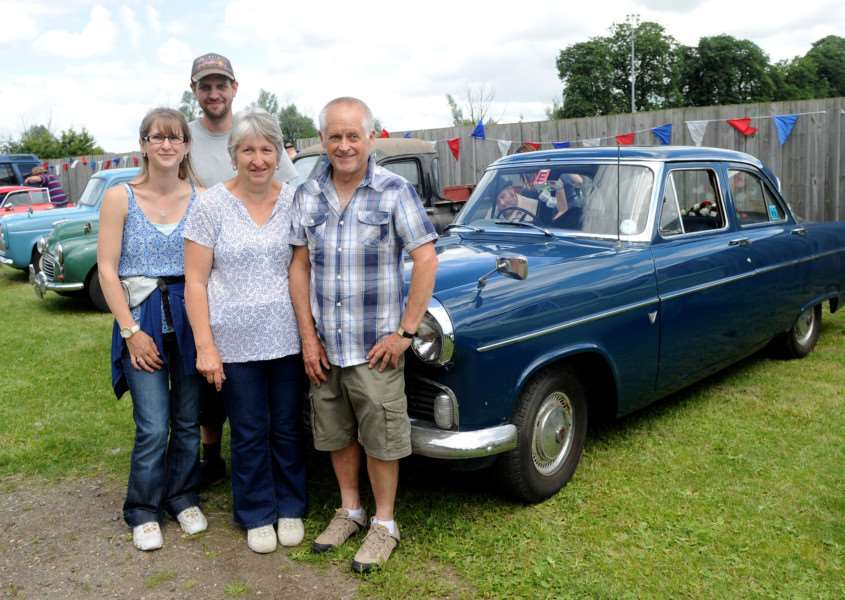Milford Crank Up''Pictured: Organisers Paul Watson and Emma Cranfield along with her parents Sharon and Adrian Cranfield and his 1961 Zephyr Mark II ANL-160307-182729009