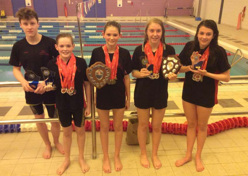 TROPHY HAUL: From l-r: Henry Newell, Joseph Bavey, Maeve Pooley, Lauren Watt and Tess Wesley