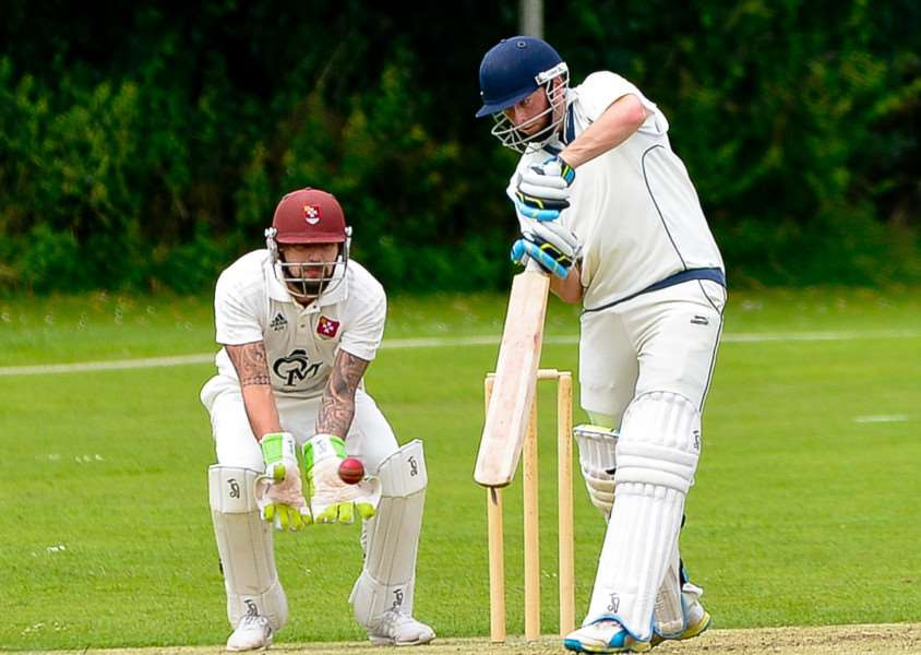 Haverhill batsman Chris Palmer on his way to scoring 148 against Witham. ANL-161007-201244009