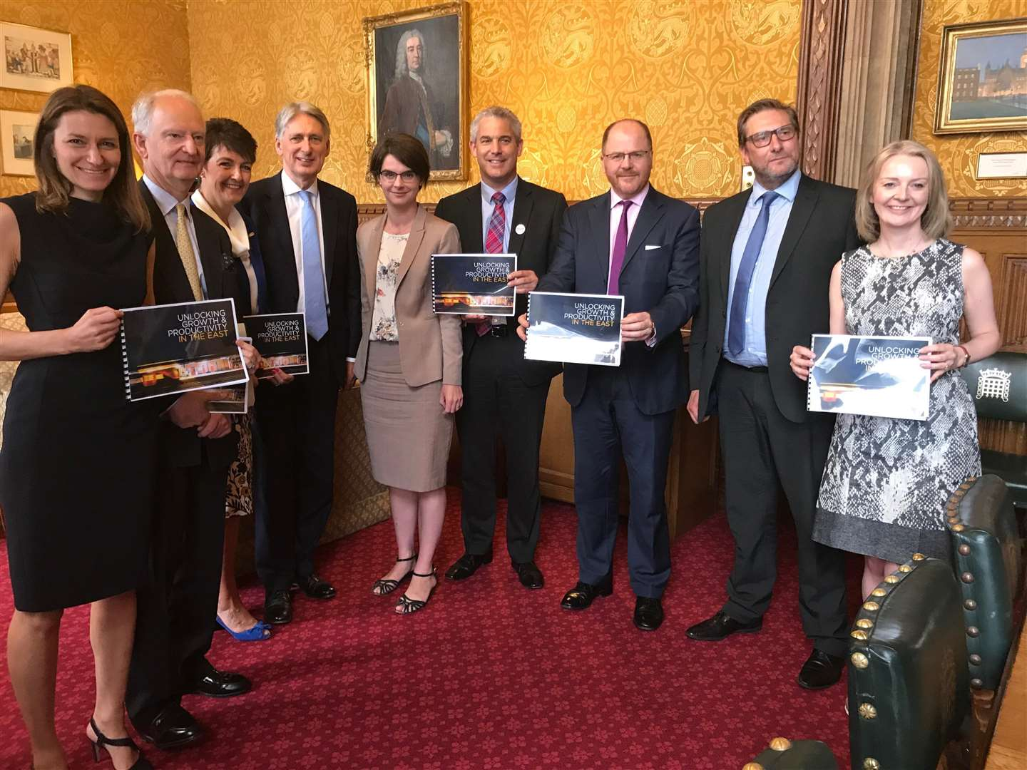 From left: Lucy Frazer MP, Sir Henry Bellingham MP, Jo Churchill MP, Chancellor Philip Hammond, Chloe Smith MP, Steve Barclay MP, George Freeman MP, Mayor James Palmer and Elizabeth Truss MP.(4217021)