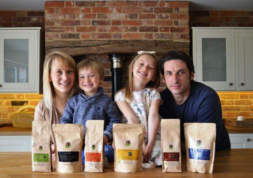 Pictured with their coffee are Vicky, Harry,3, Ruby, 6, and Ben. Vicky and Ben have formed the Wise Coffee Co supplying coffee from their Alpheton home.