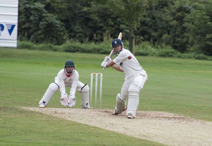 CAPTAIN'S KNOCK: Ben Shepperson plays at a full toss on his way to helping Mildenhall secure the title