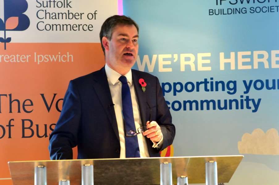 David Gauke MP, Chief Secretary to the Treasury at the Greater Ipswich Chamber Celebratory Brunch held at Suffolk New College